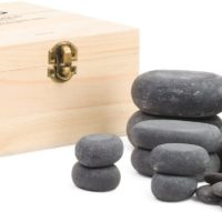 20 Piece Hot stone (Basalt) set in wood case